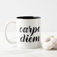 Shop Carpe Diem Brush strokes Two-Tone Coffee Mug created by SageTypo. Latin Quotes, Carpe Diem, Brush Strokes, Morning Coffee, Dinnerware, Color Pop, Coffee Mugs, Best Gifts, Ceramics