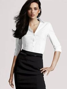 H&M NEW White Button Front Long Sleeve Shirt Blouse Size S BNWT [sc74] #HM #Blouse #Career