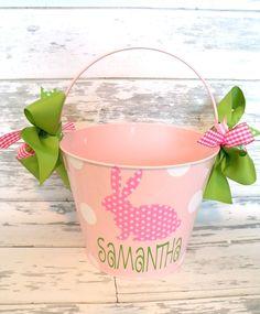 Monogrammed Pink Polka Dot Bunny Easter Bucket.