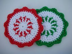 free pattern of a crocheted Christmas bell | Whiskers & Wool: Peppermint Coaster Crochet Patttern - FREE
