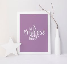 A Little Prince Sleeps Here, A Little Princess Sleeps Here,  lilac nursery print, little girl, little boy, customised print, nursery print by InkBoutiqueDesign on Etsy