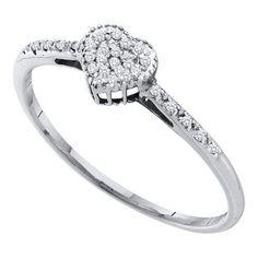 10k White Gold 0.07Ctw Diamond Fashion Heart Ring: Ring