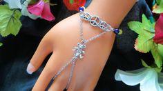 Greatful Dead bear slave bracelet, hand chain, chain bracelet, handflower, hipster chic, Greatful Dead bracelet, gemstone bracelet by JWBoutique1 on Etsy