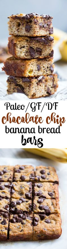 Chocolate Chip Banana bread bars {Paleo} that are gluten free, grain free, soy free, refined sugar free, dairy free and paleo friendly.