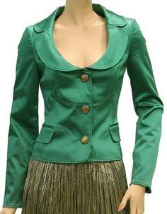Dolce & Gabbana - green portrait collared 3 button blazer paired w/ moss green crinkled skirt