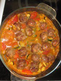 Boulettes de viande à la marocaine Pour 4 personnes - 5 PP/personne 2 gousses d'ail 4 steack hachés de boeuf de 5 % 1 cs de raz-el-hanout 2 cs de coriandre 4 cc d'huile d'olive 2 oignons 600 g de tomates 400 g de jeunes courgettes 1 cc de cumin 1 cc de paprika sel, poivre