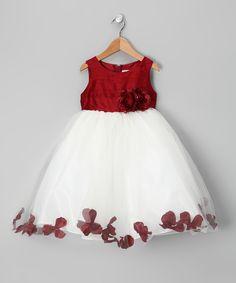 Burgundy & White Flower Petal Silk Dress - Infant
