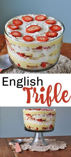 English Trifle English Trifle,Cooking&Baking Learn how to make a traditional English trifle. Layers of delicious cake soaked in sherry, vanilla custard and berry jam topped with homemade whipped cream. Perfect for Easter, Christmas or. Brownie Trifle, Trifle Desserts, Just Desserts, Mini Desserts, Apple Desserts, Angel Food Cake Trifle, Custard Desserts, British Desserts, Christmas Desserts
