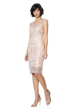 Metallic Corded Embroidery on Tulle V-Neck Sheath Dress