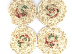 Christmas coasters, coasters, kitchen, dining table, coasters, coaster sets, drink coasters, fabric coasters, coiled coasters, hostess gift by KathyTDesigns on Etsy Coffee Coasters, Tea Coaster, Drink Coasters, Table Coasters, Christmas Drinks, Christmas Decorations, Table Decorations, Dining Decor, Kitchen Dining