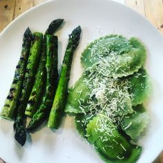Welsh ravioli and asparagus