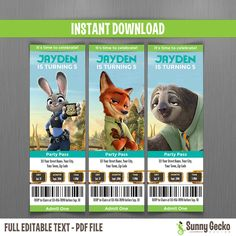 Zootopia Birthday Ticket Invitations - Instant Download and Edit with Adobe Reader by SunnyGeckoDesign on Etsy