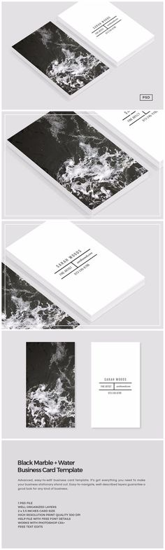 black marble + water business card template
