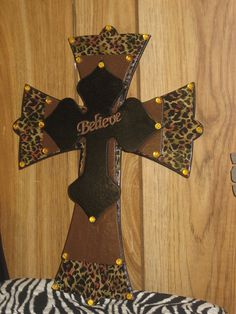 Wooden Wall Cross 3 Stacked Black Brown & Leopard by cthorses66, $25.00