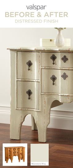 Over eight million pieces of furniture are thrown away each year; don't become a statistic. Instead, start a new trend: chic trendy. Valspar chalky finish paint needs little to no surface prep and comes in over 40 tintable colors. So, grab a can today—along with some sealing wax and sandpaper—to achieve a look that fits your style with a color like Moonstone Ring. Learn more about Valspar chalky finish paint here: http://www.valsparpaint.com/chalkyfinishpaint