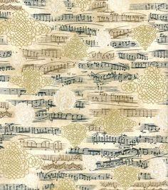 Novelty Cotton Fabric-Music Notes Metallic