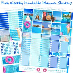Free Beachy/ Summer Printable Planner Stickers For The EC & Recollections Planner - Planner Onelove Free Planner, Planner Pages, Happy Planner, Planner Ideas, 2018 Planner, Passion Planner, Planner Layout, Planner Inserts, Project Life