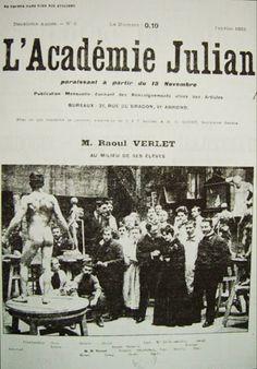 Académie Julian Paris 1903   Apesar de sua importância, a história da Academia Julian foi até hoje relativamente pouco estudada na França.   http://sergiozeiger.tumblr.com/post/110920733548/a-academia-julian-e-uma-escola-privada-de-pintura  Nenhum dossier de artista foi conservado, e somente uma parte dos registros, os da seção de homens cobrindo com lacunas o período 1870-1932, ainda existe.