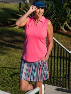 If you're in the market for some new outfits, consider our women's apparel! Shop this comfortable and stylish Hot Toddy (Rosada & Blanket Print) JoFit Ladies & Plus Size Golf Outfit from Lori's Golf Shoppe.