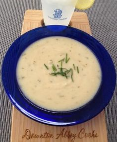 Vichyssoise: one of the dishes Alfred was tested on at the Ritz training school in S4 of Downton. Essentially leek & potato soup, chilled with milk added.  My recipe.