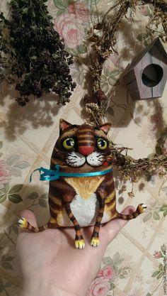 Купить Рыжий,усатый,слегка полосатый) - кот, котик, коричневый, полосатый, интерьерная игрушка