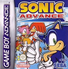 Sonic Advance (SEGA) GBA; 2001 platform game developed by Dimps, published by Sega. It is the second Sonic game to be released on a Nintendo console (having been beaten by 10 days by Sonic Adventure 2 Battle for the Gamecube). game features 4 playable characters; Sonic, Tails, Knuckles & Amy. Sonic Advance is notable as it was both the debut of Sonic on GBA & being the first Sonic game on a Nintendo system- the company with which Sega has had a notorious rivalry that lasted over a decade.