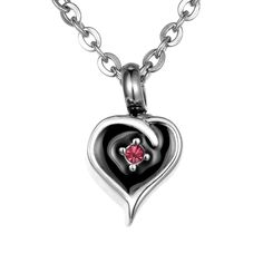 VALYRIA Memorial Diamond on Heart Urn Pendant Keepsake Necklace ** Details can be found by clicking on the image.