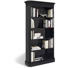 Ralph Lauren Brook Street Bookcase (6,410 CAD) ❤ liked on Polyvore featuring home, furniture, storage & shelves, bookcases, shelves, interior design, chairman piano black, black book shelves, black bookshelves and book-shelf