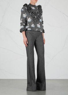Swan-intarsia ruffled wool jumper (KS)