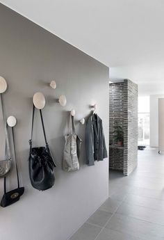 Grey walls and Muuto dots in the hallway. Read More by muuto. Grey walls and Muuto dots in the hallway. Hallway Inspiration, Interior Inspiration, Feng Shui Apartment, Decoration Hall, Flur Design, Entry Hallway, Grey Hallway, Hallway Ideas, Corridor Ideas