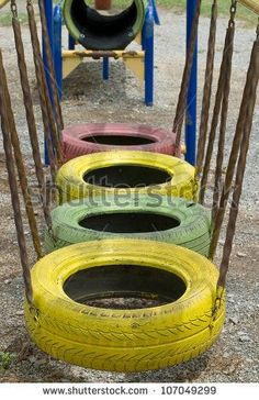 Tires Use In Playground Stock