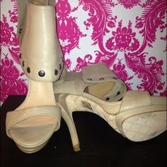 L.A.M.B size 9 Never worn L.A.M.B heels in bone % authentic L.A.M.B. Shoes
