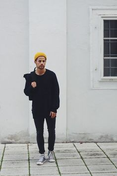 Men's street style, autumnal yellow beanie with an all black outfit #StyleMadeEasy