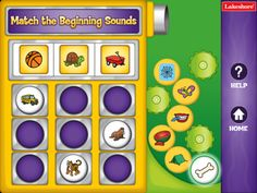 """Beginning Sounds App- Kids match words that share the same beginning sound! Children just """"grab"""" fun picture balls and drop them into the correct spots on the board. For ages 4-7 years."""