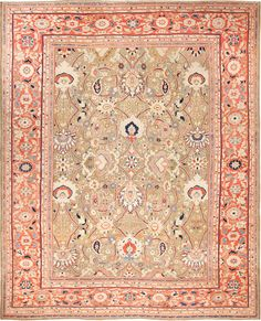 Antique Zigler Sultanabad Persian Rug , Country of Origin / Rug Type: Persian Rug, Circa Date: 1880 13 ft 3 in x 16 ft 3 in (4.04 m x 4.95 m)