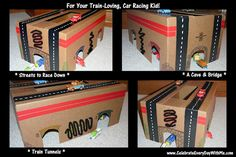 DIY Project for train-loving, car-racing kid Train Tunnel, Cool Sports Cars, Son Love, Thomas The Train, Toddler Activities, Toddler Toys, Kids Playing, Little Boys, Race Cars