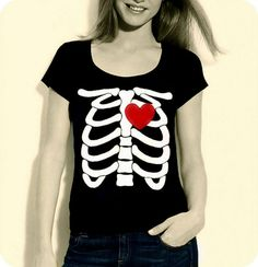 Skeleton Beating HEART Women TShirt  Made to by repurposefulPUNK, $29.00
