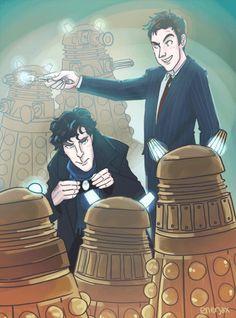 enerjax: Sherlock and Ten, saving the universe, normal day! :D Thanks to for the super fun commission request! Sherlock Holmes Bbc, Sherlock Fandom, Supernatural, Fandom Crossover, Torchwood, Johnlock, Baker Street, Martin Freeman, Superwholock
