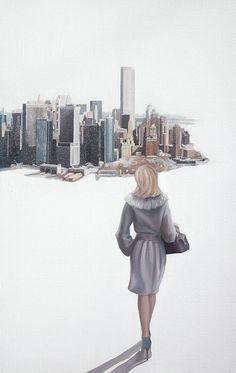 Une femme dans la ville http://www.corinnedauger.com/tableaux/femme-dans-la-ville/#!