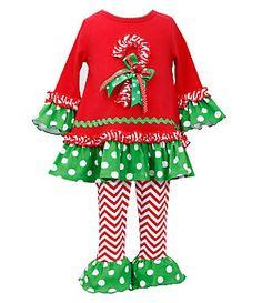 Bonnie Baby 12-24 Months Christmas Candy Cane Dress & Chevron-Stripe Leggings Set | Dillard's Mobile