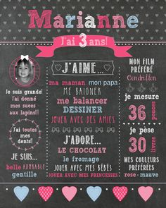 """First birthday poster custom """"Hearts"""" _FICHIER numerique_fete 1 year, pink and baby blue, chalkboard slate Board First Birthday Posters, 3rd Birthday, Invitation Fete, Invitations, Slate Board, Chalk Design, Personalized Posters, Custom Posters, Kids And Parenting"""
