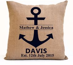 Personalized Burlap Monogram Mr Mrs Anchor Pillow Custom Gift Photo Prop Wedding Aniversary