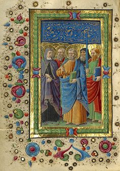 Gualenghi-d'Este Hours   All Saints   Guglielmo Giraldi  Italian, Ferrara, about 1469  Tempera colors, gold paint, and gold leaf on parchment    4 1/4 x 3 1/8 in.  MS. LUDWIG IX 13, FOL. 159V