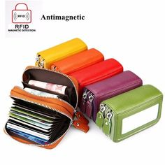 Genuine Leather RFID Double Zipper 11 Card Holder Anti-thieft Coin Bags Short Purse