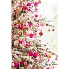 OUR (PINK) CHRISTMAS TREE ❤ liked on Polyvore featuring home, home decor, holiday decorations and pink home decor
