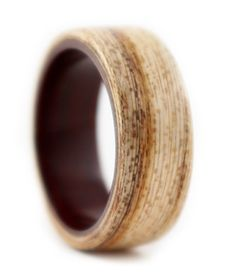 Hackberry and Rosewood wedding or engagement ring. Handcrafted in Chicago from salvaged wood. Each ring made is unique and different.