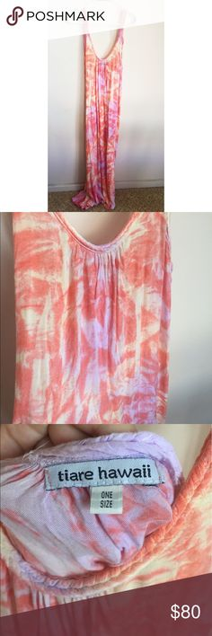 Tiare Hawaii Dress Pink Tie Dyed Tiare Hawaii Maxi Tie Dyed Pink print. Excellent condition. Gorgeous style. Tiare Hawaii Dresses Maxi