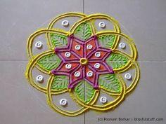 Small and easy flower shaped rangoli   Creative rangoli designs by Poonam Borkar - YouTube