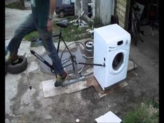 Bicycle powered washing machine / alternative spin class