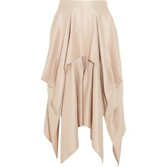 BARBARA CASASOLA   Draped asymmetric silk-crepe skirt (£572) ❤ liked on Polyvore featuring skirts, asymmetrical draped skirt, draped skirts, beige skirt, asymmetrical skirts and barbara casasola